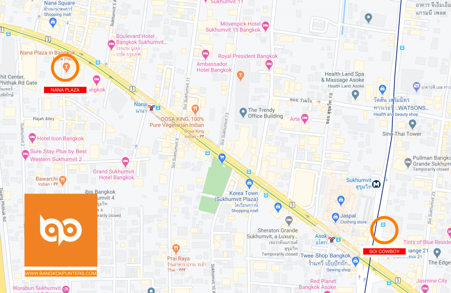 Nana Bangkok Plaza to Soi Cowboy Map